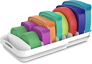 EVERIE Extendable Food Container Lid Organizer Compatible with 12'' Deep Cabinets, 13.4