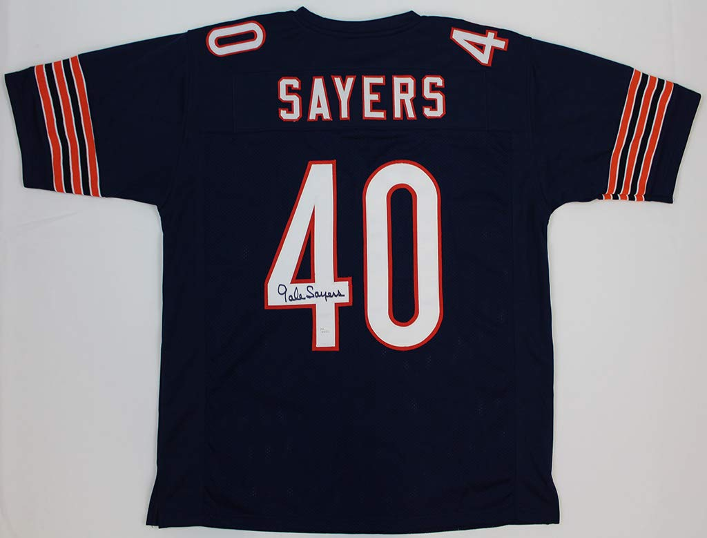 Gale Sayers Autographed Navy Blue Chicago Bears Jersey - Hand Signed By Gale Sayers and Certified Authentic by JSA - Includes Certificate of Authenticity
