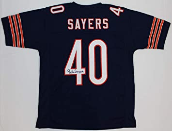 f8582e45dbf Gale Sayers Autographed Navy Blue Chicago Bears Jersey - Hand Signed By Gale  Sayers and Certified