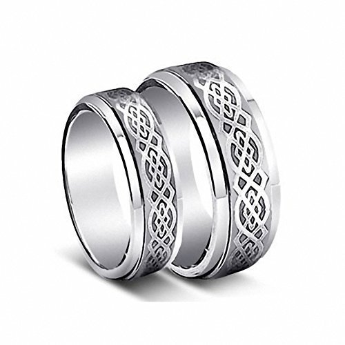 His & Her's 8MM/6MM Tungsten Carbide Wedding Band Ring Set w/Laser Etched Celtic Design , Ladies Size 6.5 - Mens Size 12 Celtic Wedding Set