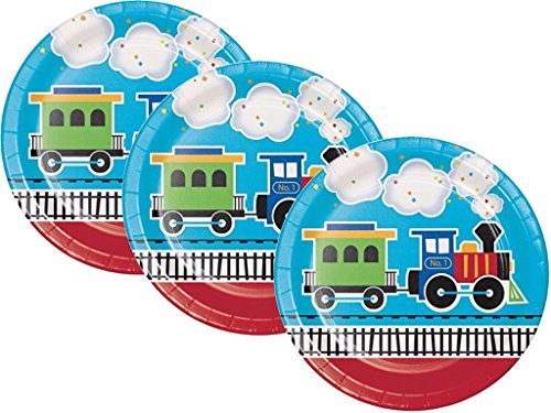 All Aboard Train Birthday Party Plates Kit 24ct Train Party Plates