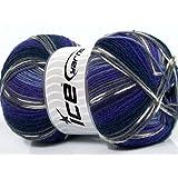 Lot of 4 x 100gr Skeins ICE YARNS Super Sock Purple Shades