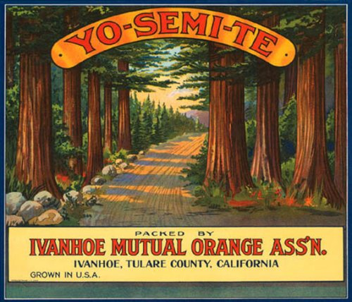 YOSEMITE ORANGE CALIFORNIA USA FRUIT CRATE LABEL PRINT REPRODUCTION ()