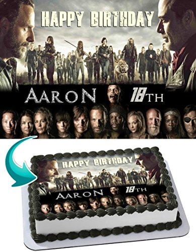 Walking Dead Edible Cake Topper Personalized Birthday 1/4 Sheet Decoration Custom Sheet Party Birthday Sugar Frosting Transfer Fondant Image ~ Best Quality Edible Image for cake -