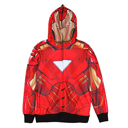 Marvel Men's Iron Classic Mask Sublimated Costume Hoodie, Red, Medium ()
