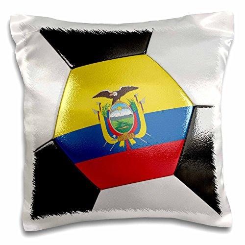 3dRose pc_181218_1 Ecuador Soccer Ball Pillow Case, 16'' x 16'' by 3dRose
