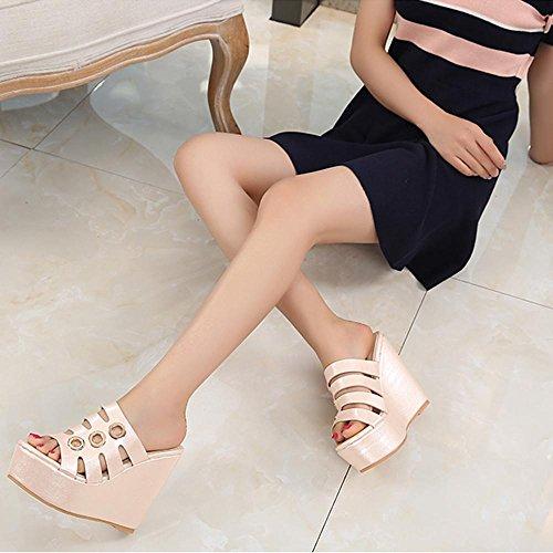 GJDE Sandalias de Tacón Alto Impermeable Pendiente Panecillo de Fondo Grueso Con Zapatillas Mujer Cuña Plataforma nude 10 cm