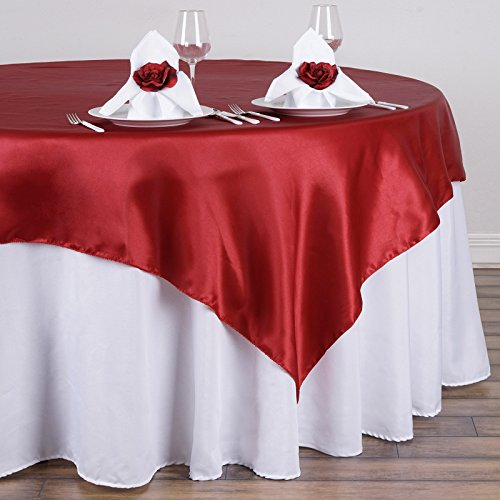 BalsaCircle 90x90-Inch Wine Satin Table Overlays - Wedding Reception Party Catering Table Linens - Wine 90