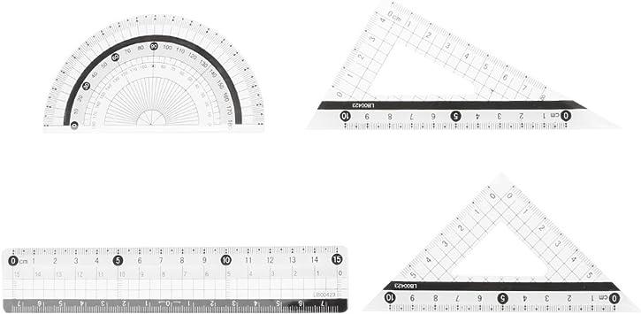 A0127/disfraz de regla regla tri/ángulo Transportador Regla La geometr/ía matem/áticas papeler/ía la pintura disfraz de estudiante 4/piezas