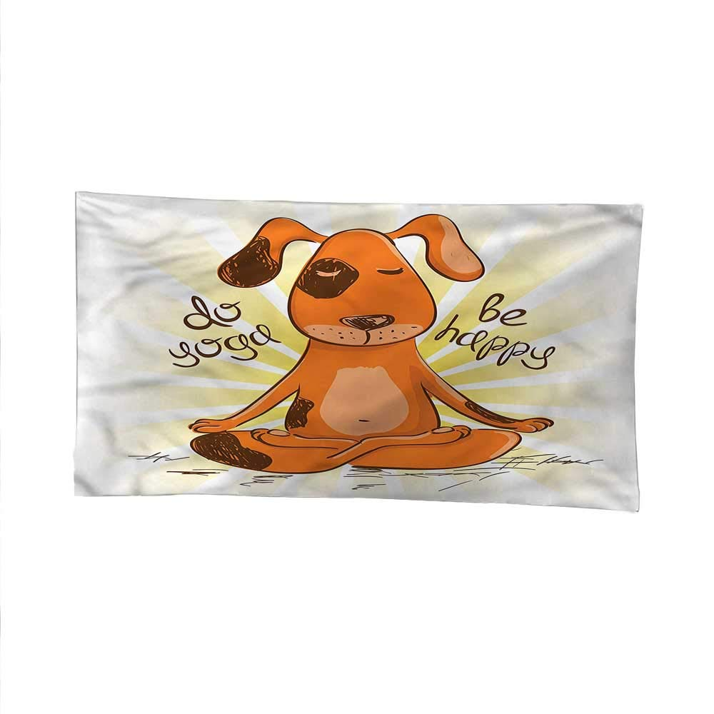color11 84W x 54L Inch color11 84W x 54L Inch Cartoonspace tapestrywall Hanging tapestryDo Yoga Be Happy Lotus Dog 84W x 54L Inch