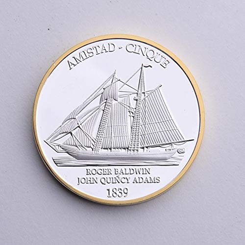 Momoso_store American Civil War 1839 Amistad Cinque Souvenir Sailing Boat Brave Dauntless Brave Commemorative Coin, Replica Toys