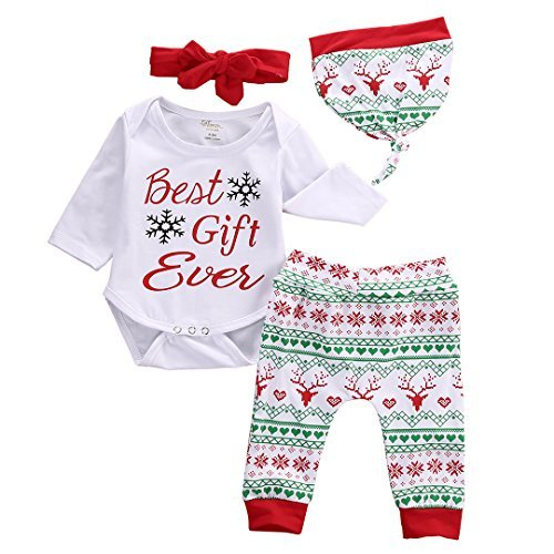 4pcs Baby Boy Girl Christmas Outfit Romper Pants Leggings Hat Clothes Set - 9