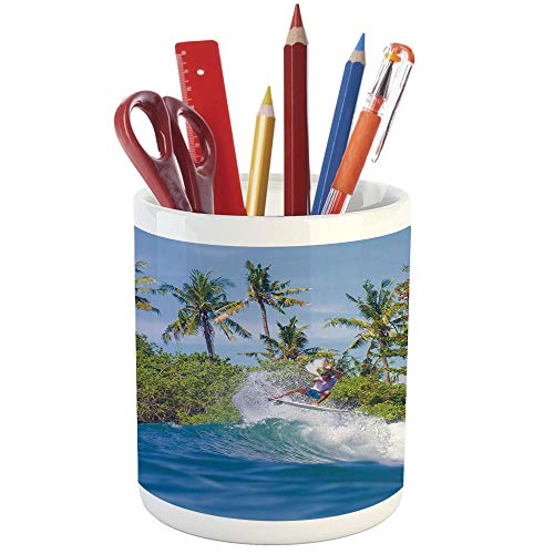 Pencil Pen Holder,Ride The Wave,Printed Ceramic Pencil Pen Holder for Desk Office Accessory,Surfer in Ocean by Bali Island Palm Trees Dreamy Nature Scenery