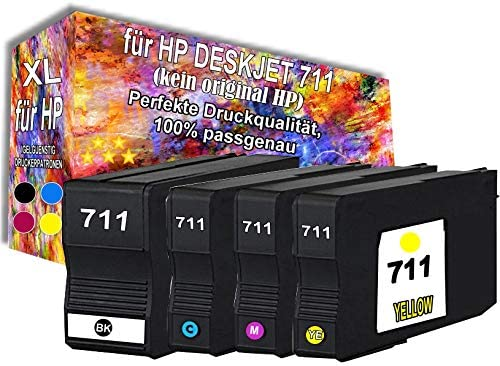 4 x Cartuchos de Tinta Negro Color para HP Designjet 711 XL, T120, T520: Amazon.es: Oficina y papelería