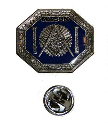 ALBATROS Mason Freemason Symbol Blue Grey Hexagon Bike Motorcycle Hat Cap Lapel Pin for Home and Parades, Official Party, All Weather Indoors Outdoors ()