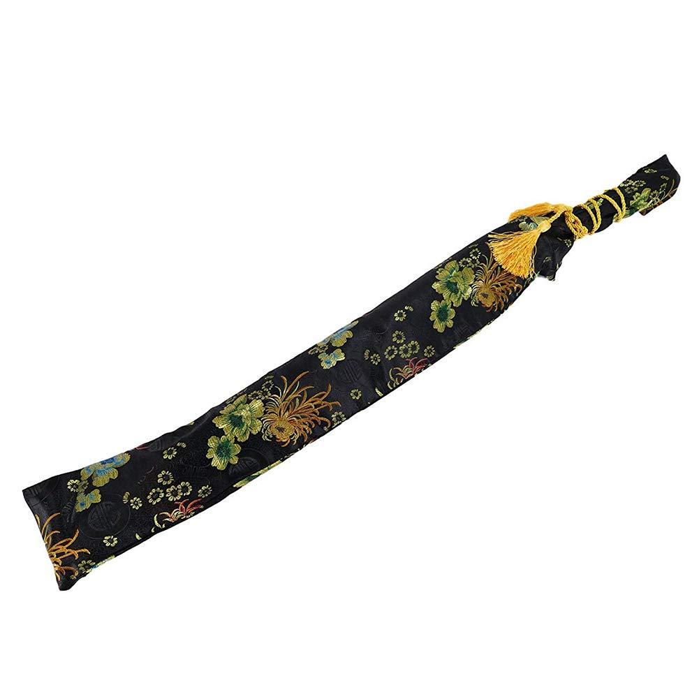 SOOKi Seda Satinada Bordado Crisantemo Negro Deseo Espada Bolsa Katana Espada Bolsa De Transporte con Borla De Oro