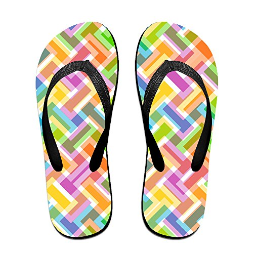 a8c6bb0fa01a25 durable modeling Double Happiness Summer Unisex Colorful Abstract Geometric Pattern  Classical Comfortable Flat Beach Flip-