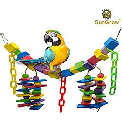 SunGrow Bird Cage Hanging Blocks Toy, 19 Inches Long, Rainbow Colored Bridge, Multicolored Wooden Blocks Stimulate Senses, Edible Chew Toy