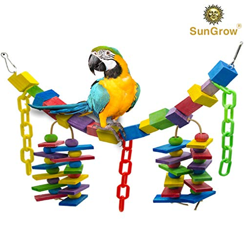 Bird Cage Hanging Blocks Toy - Rainbow Colored Bridge - Multicolored Wooden Blocks Stimulate Senses - Chewing, Hanging Toy - Nibbling Keeps Beaks Trimmed - Preening Keeps Feathers Clean