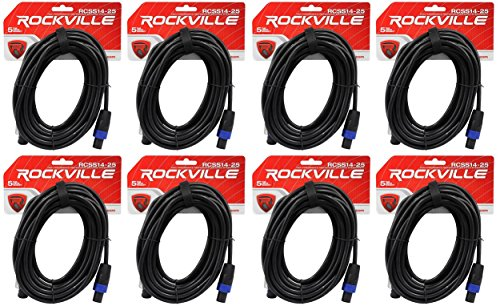 8 Rockville RCSS1425 25' 14 AWG 100% Copper Speakon to Speakon Pro Speaker Cable by Rockville