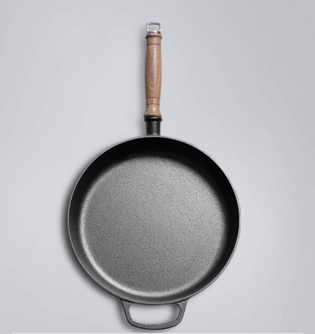 Gjhh Sartén para freír de Hierro Fundido, sartenes antiadherentes con asa y Tapa de Vidrio Sin Recubrimiento Omelette Pan 11.0in Negro: Amazon.es: Hogar