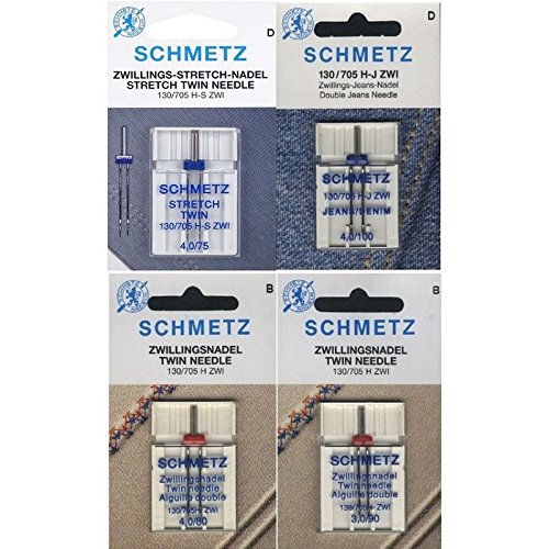 Schmetz Aguja Surtido Stretch Twin/Jeans Twin/Sistema Universal Twin/130/705H/4agujas