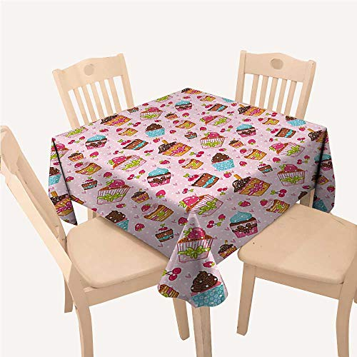 Pink Outdoor Picnics Decorations for Kitchen Cupcakes Muffins Strawberries and Cherries PrintLight Pink and Brown Square Tablecloth W70 xL70 inch ()