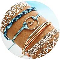 17mile Wave Strand Bracelet Set Handmade Waterproof Wax Coated Braided Rope Boho Woven Bracelet Women