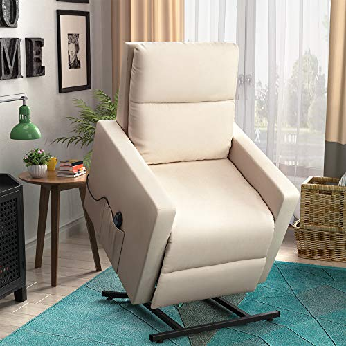 - Merax Power Lift Chair and Power Recliner in Suede Fabric, Living Room Recliner with Heavy Duty Reclining Mechanism