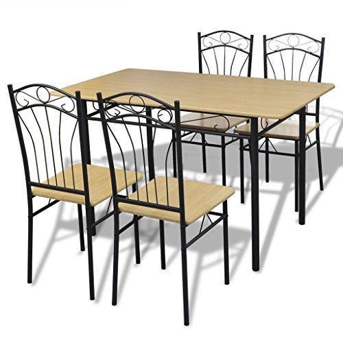 Anself Dining Set Table and Chairs Set 4 Person Metal Kitchen, Light Brown