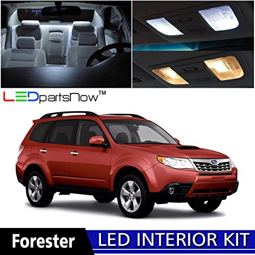 LEDpartsNow 1998-2014 Subaru Forester LED Interior Lights Accessories Replacement Package Kit (6 Pieces), WHITE