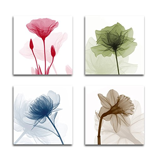 Vmar Art 4 Piece Wall Art Decor Framed Subtile Elegant Lotus Flowers Canvas Landscape Paintings for Living Room Bedroom Dining Room Kitchen Home Decorations 12x12inch by