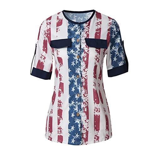 TOTOD Fashion Women American Flag Print Lace Insert V-Neck Tank Tops Lace Shirt Blouse ()