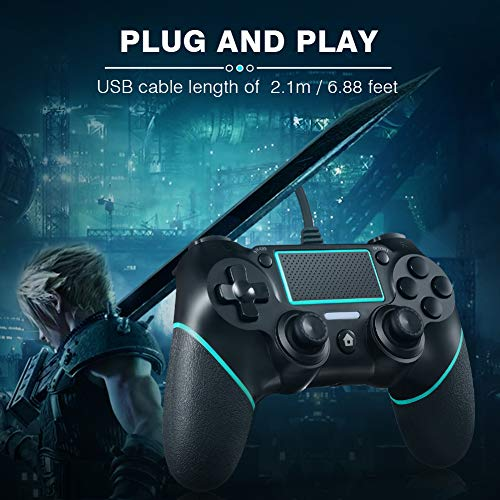 PS4 Controller ORDA Wired Gamepad for Playstation 4/Pro/Slim/PC with Motion Motors,Mini LED Indicator and Anti-Slip Design - Berry Blue