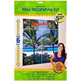 """Hawaiian Summer Luau Beach Front & Palm Trees Scene Setter Kit, 5 Pieces, Made from Vinyl, Multicolor, 65"""" x 59"""" by Amscan"""