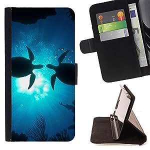 BullDog Case - FOR/LG Nexus 5 D820 D821 / - / turtles love ocean sunshine blue underwater /- Monedero de cuero de la PU Llevar cubierta de la caja con el ID Credit Card Slots Flip funda de cuer