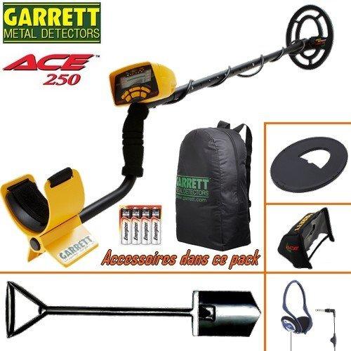 Garrett Detector de metales, Ace 250, incluye un protector de disco, auriculares plegables, protección contra la lluvia para la caja, mochila, ...