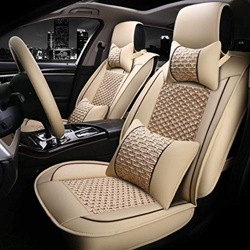 Lykaci Car Seat Covers Set Leather, Universal 5 Seats Seat Cushions for the front seats and rear seat Seats Seat cover with cushions (Color : Beige):