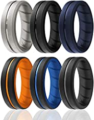 ROQ Silicone Rings for Men Breathable Mens Silicone Rubber Wedding Rings Bands - Duo Collection