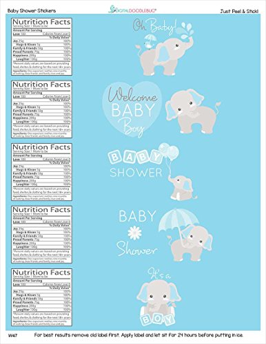 Water Bottle Labels Gray Elephant Set of 25 -