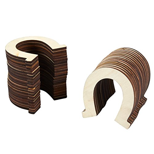 Unfinished Wood Cutout - 36-Pack Horseshoe Shaped Wood