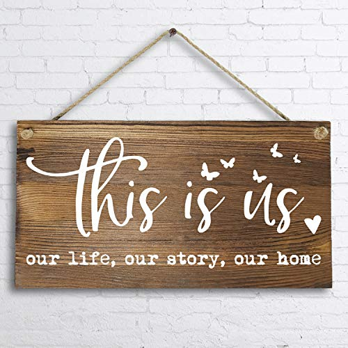 6″x 12″ Rustic Solid Wood Home Decor Sign Wall Art Plaque -This is Us Our Life Our Story Our Home.