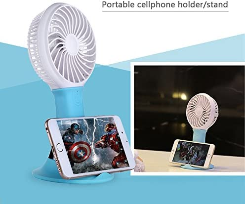 Four-in-one Fan, Power Bank Cellphone Holder and LED Light 3 Gears Tabletop Mini USB Fan – Powered by 18650 Lithium Rechargeable Battery Included with LED Light Green