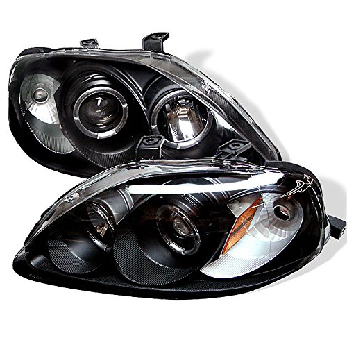 [For 1999-2000 Honda Civic] LED Halo Ring Black Housing Projector Headlight Headlamp Assembly, Driver & Passenger Side Civic Projector Headlights Black Housing