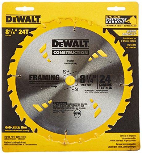 DEWALT DW3182 Series 20 8-1/4-Inch 24 Tooth ATB Framing Saw Blade with 5/8-Inch Arbor