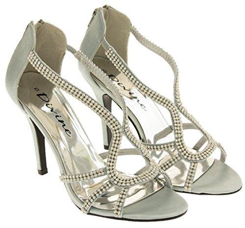 Femmes Satin Talons Argent Chaussures Diamante Divine à Hauts 4FYq47S