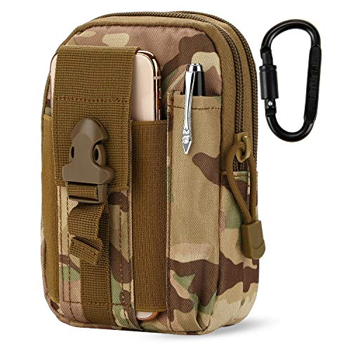 Cordura Camouflage Zipper Bag - DOUN Outdoor Tactical Waist Bag EDC Molle Belt Waist Pouch Security Purse Phone Carrying Case for iPhone 8 plus Galaxy Note 9 S9 Or Less than 6.2 inches Smartphone - CP camouflage