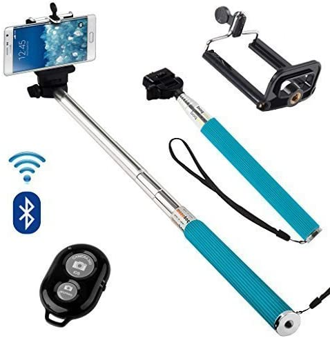Samsung Galaxy J5 Premium Handheld Selfie Stick Monopod Extendable Function with Adjustable Phone Holder Comes With Bluetooth Wireless Shutter Remote Control Baby Blue N4U Online/®