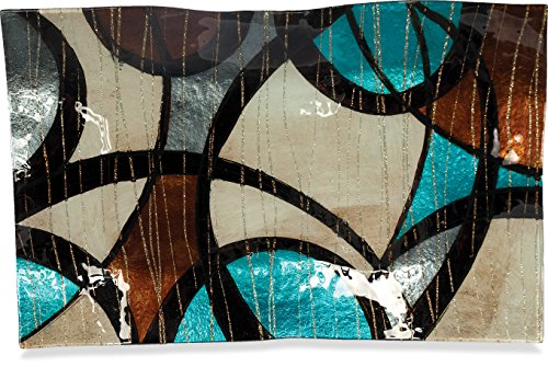 AngelStar 19074 Handmade and Hand-Painted Glass Modern Swirl Rectangular Plate, 17-Inch (Plates Decorative Modern)