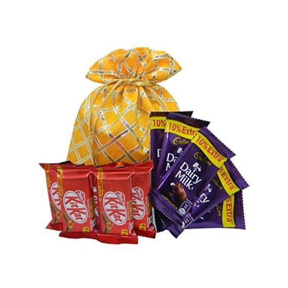 Rich'U Chocolates - Chocolate Gift Hamper - Gift for Rakhi, Diwali, Anniversary, Birthday, Christmas, Valentine, Her, Him - Assorted Chocolate Gift Pouch